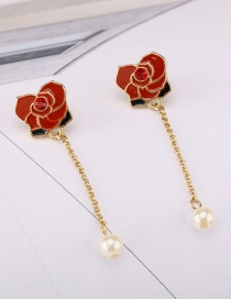 Fashion Red Rose Pearl Stud Earrings