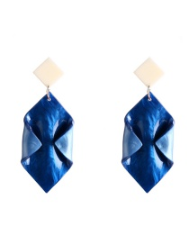 Fashion Navy Blue Acrylic Leaf Diamond Earrings