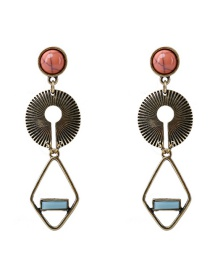Fashion Ancient Gold Turquoise Textured Alloy Earrings