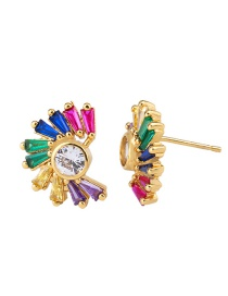 Fashion Golden Flowers Zircon Crystal 18k Stud Earrings