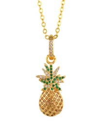 Fashion Golden Pineapple Watermelon Pineapple Zircon Necklace