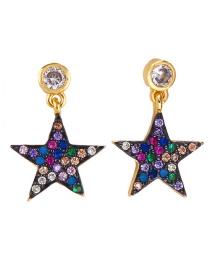 Fashion Gold Stars Lips: Stars: Micro-inlaid Zircon Earrings