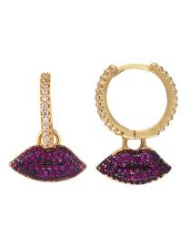 Fashion Golden Lips Lips: Stars: Micro-inlaid Zircon Earrings