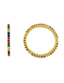 Fashion Gold Zircon Micro-encrusted Diamond Ring