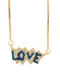 Fashion Blue Letter Love Inlaid Zircon Necklace