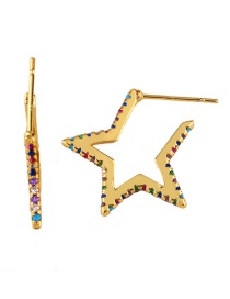 Fashion Golden Five-pointed Star Pin Earrings