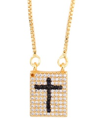 Fashion Black Geometric Cross Inlaid Zircon Necklace