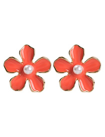 Fashion Watermelon Red Alloy Pearl Flower Earrings