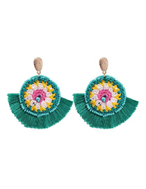 Fashion Green Alloy Rice Beads Tassel Earrings