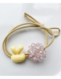 Fashion Yellow Crystal Ball Hair Ring