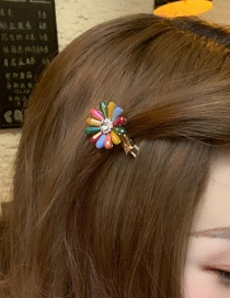 Fashion Main Color (color Flower Mini Clip) Crystal-studded Flower Hair Clip