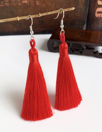 Fashion Big Red Alloy Tassel Earrings