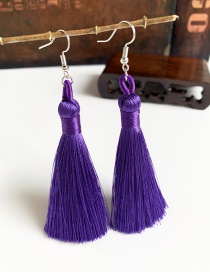 Fashion Purple Alloy Tassel Earrings