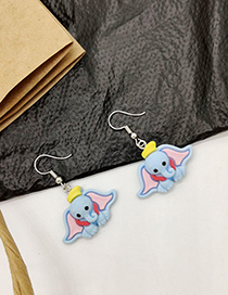 Fashion Blue Cartoon Flying Elephant Earrings