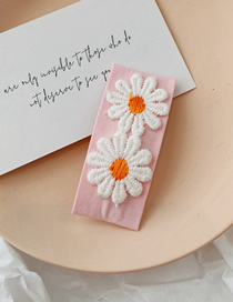 Fashion Pink Embroidered Flower Hair Clip