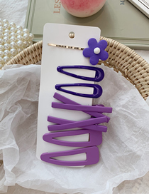 Fashion Purple/7 Piece Set Avocado Flower Hair Clip Set