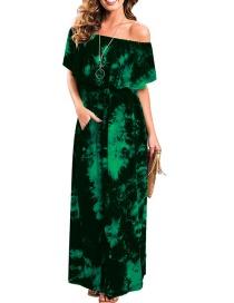 Fashion Dark Green Ruffled One-shoulder Tie-dyed Slit Pocket Dress