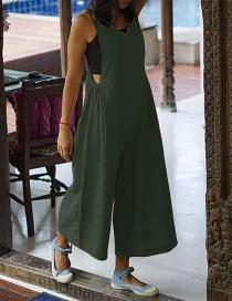 Fashion Green Drawstring Straps Round Neck Jumpsuit