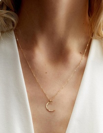Fashion Gold Stainless Steel Moon Necklace