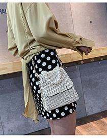 Creamy-white Chain Straw Pearl Crossbody Bag