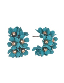 Blue Alloy Small Flower Earrings