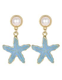Blue Alloy Pearl Starfish Earrings