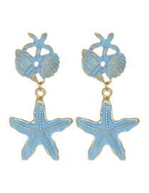 Blue Alloy Shell Starfish Earrings