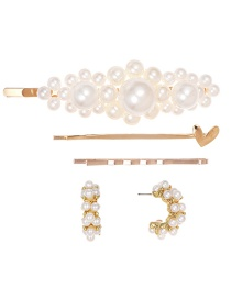 Gold Alloy Pearl Love Geometry Heyi Clip Hairpin Stud Earring Set 5 Piece Set