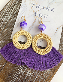 Purple Alloy Resin Rattan Tassel Earrings