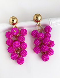 Rose Red Alloy Imitation Pearl Ball Earrings