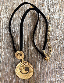 Gold Frosted Alloy Spiral Necklace