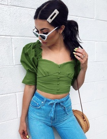 Fashion Green Wooden Earrings With A Halter Single-breasted T-shirt