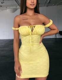Fashion Yellow One-shoulder Straps Strapless Dress Female