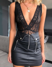 Fashion Black Hollow V-neck Halter Lace Jumpsuit