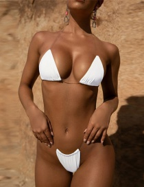 Fashion White Transparent Belt Split Swimsuit