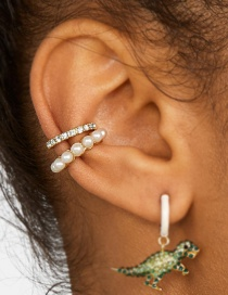 Fashion Gold Alloy Geometry C-shaped Pearl Ear Clip