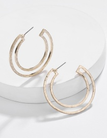 Fashion Gold Alloy Geometric Hollow C-shaped Earrings
