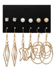 Fashion Gold Pearl Five-pointed Star Big Circle Earrings Set Of 6
