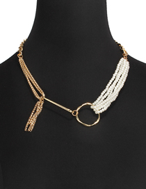 Fashion Gold Box Chain Imitation Pearl Irregular Tassel Necklace