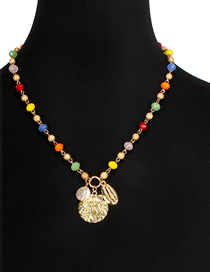 Fashion Color Glass Crystal Bead Beaded Shell Necklace