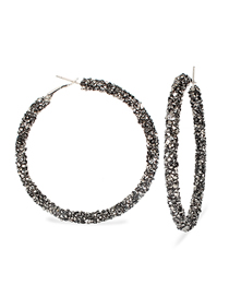 Fashion Black Large Circle Diamond Earrings