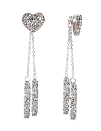 Fashion Silver S925 Silver Pin Studded Cylindrical Love Earrings