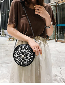 Fashion Black Pu Pearl Round Bag
