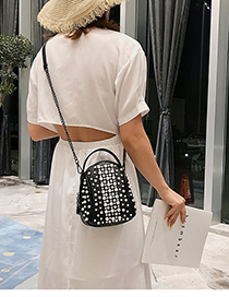 Fashion Black Pu Pearl Single Shoulder Diagonal Package