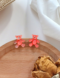 Fashion Pink S925 Silver Needle Transparent Bear Acrylic Earrings