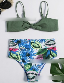 Fashion Green Printed High Waist Split Swimsuit