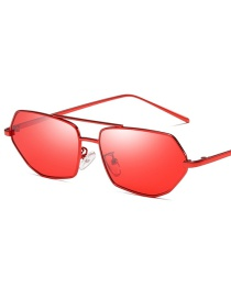 C04 Red Frame Red Polygonal Irregular Metal Frame Sunglasses
