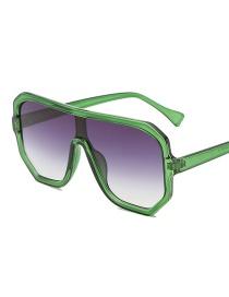 Green Frame Gradient Gray Big Box Sunglasses