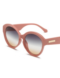 Pink Frame On Green Frame Rice Nail Large Frame Gradient Sunglasses
