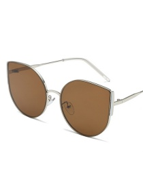 Silver Frame Tea Round Cat Eye Sunglasses